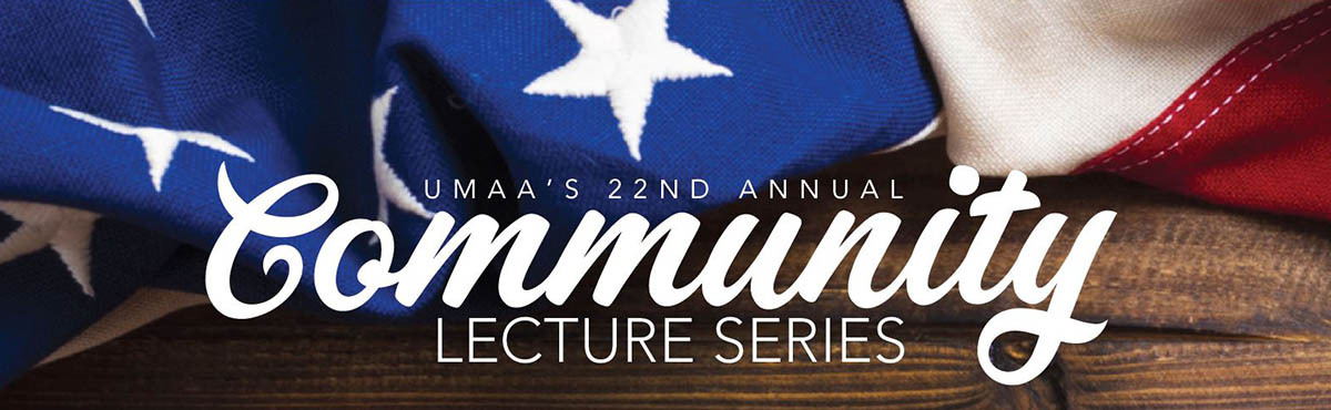 Banner reading: UNIVERSITY OF MONTANA ALUMNI'S 21 COMMUNITY LECTURE SERIES
