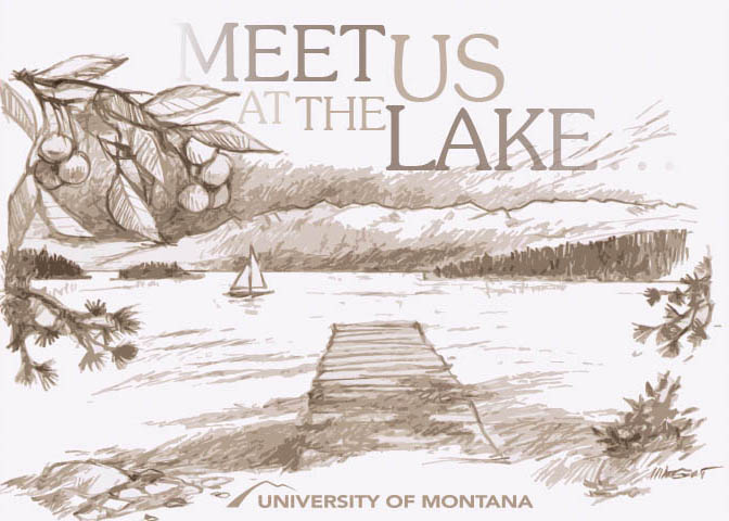 Illustration of jette on Flathead Lake with text reading: MEET US AT THE LAKE