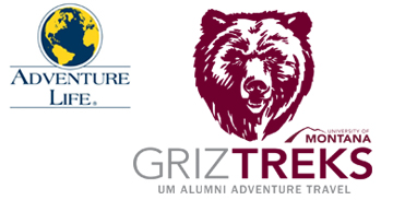 Griz Treks Logo with text reading: UM Alumni Adventure Travel
