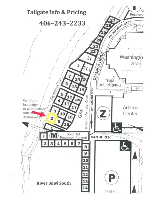 The Alumni Homecoming Tailgate is located in the second space along the Kim Williams trail at the southeast corner from the Van Buren Street footbridge.