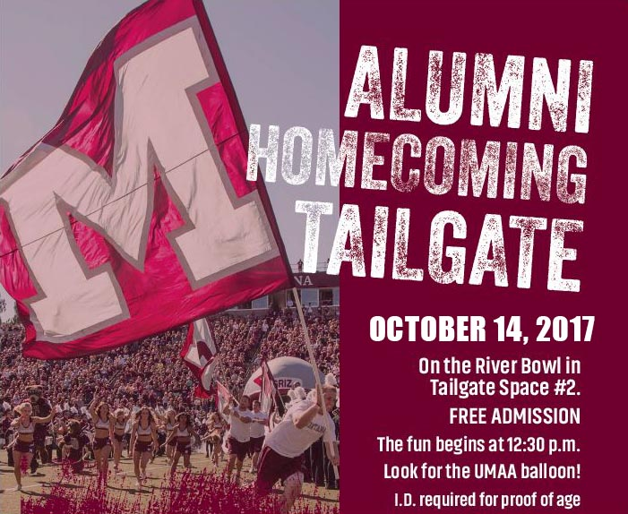 Alumni Homecomig Tailgate October 14, 2017 on the River Bowl in Tailgate Space #2. Free Admission.