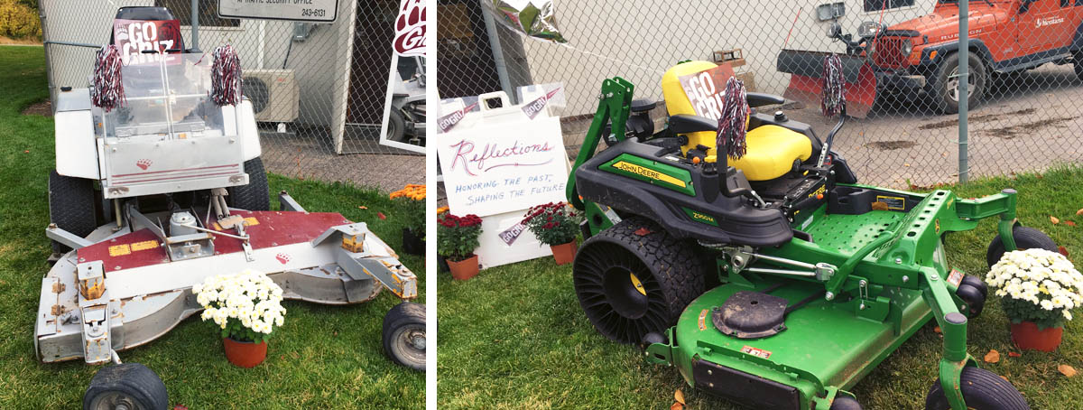 Lawnmowers from past and present decorated for Homecoming 2017
