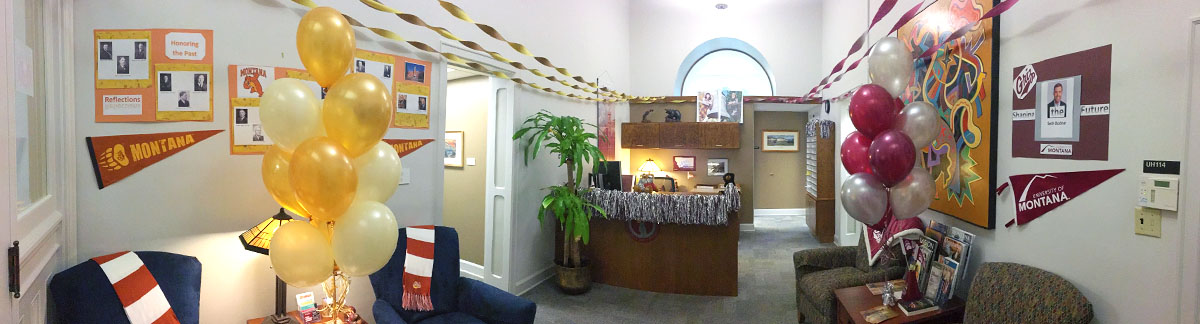 Office of the President decorated for Homecoming 2017