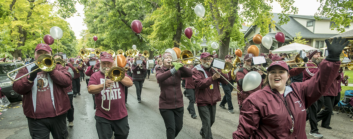 Alumni band marching in Homecoming parade