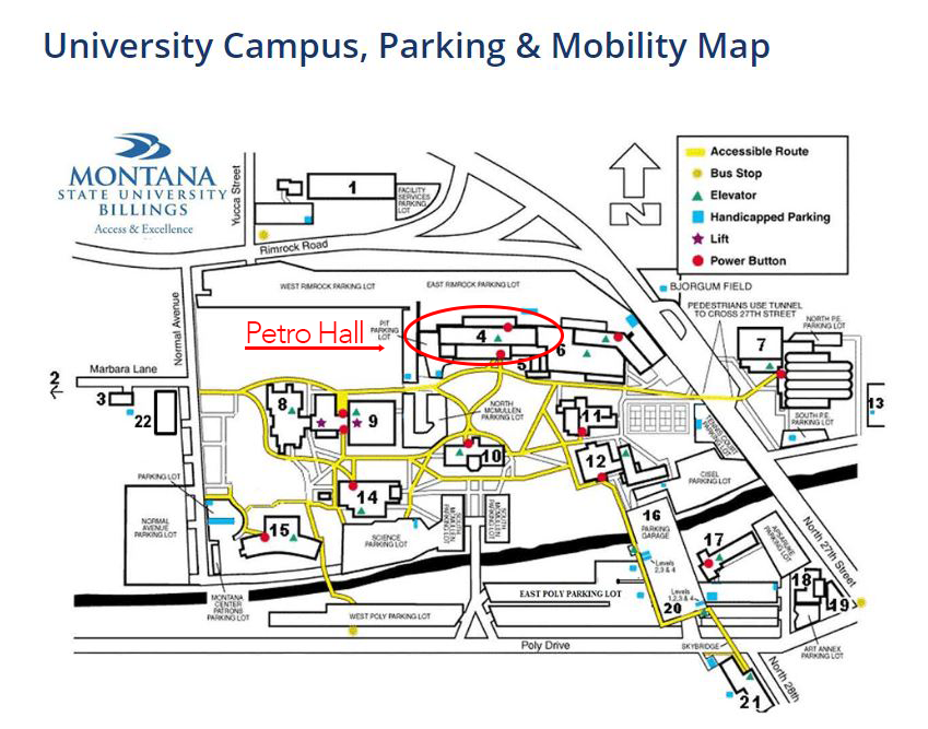 Map of Montana State University Billings indicating location of Petro Hall
