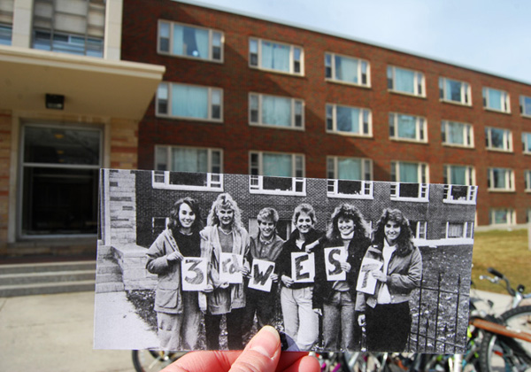 1980s Students in Front of Craig Hall