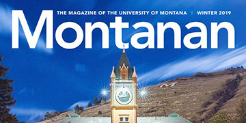 Cover of Montanan Winter 2019 issue. Picture of Main Hall clock tower.