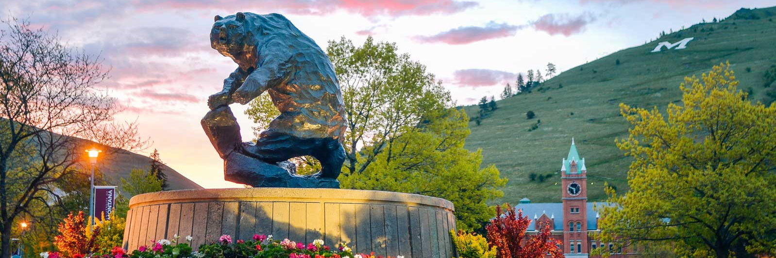 Picture of the Bear Statue and Main Hall at sunrise