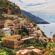 Picture of hillside town on coast of the riviera