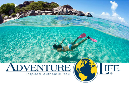 Woman snorkelling and Adventure Life logo