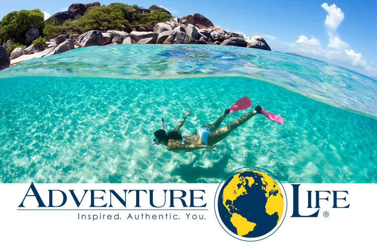 Woman snorkelling and AdventureLife logo
