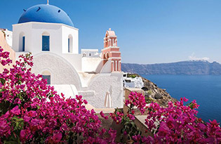 Greek church overlooking bay