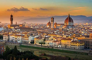 Picture of Florence at sunset featuring the Duomo