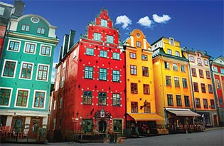 Picture of brightly colored buildings in Stockholm
