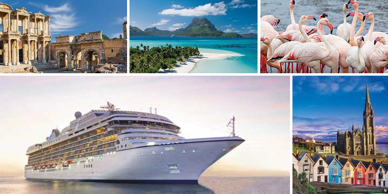 Collage of pictures from cruises