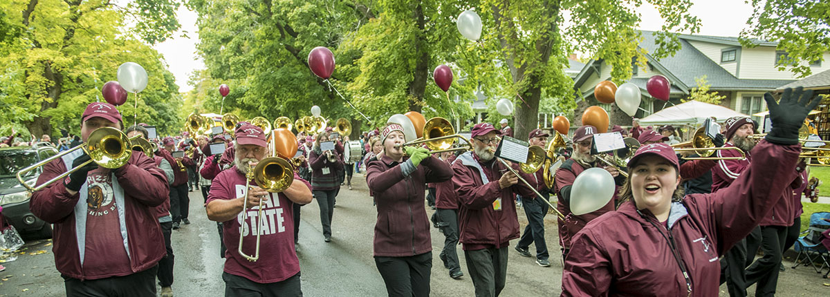 Alumni Band playing in the Homecoming parade