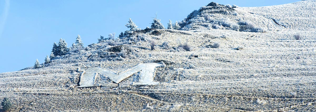 Picture of of the 'M' on Mount Sentinel in snow