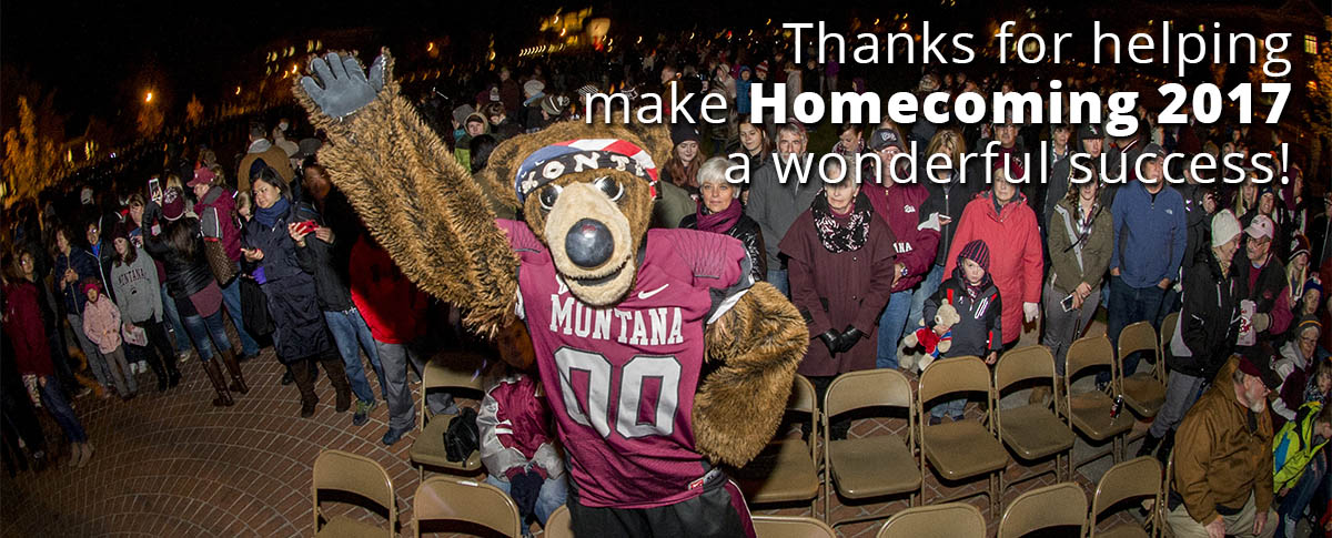 Picture of Monte at pep rally with text, Thanks for helping make Homecoming 2017 a wonderful success!