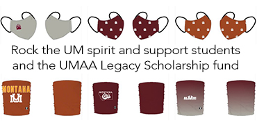 Images of old school colored masks and buff - reads Rock the UM spirit and support student and the UMAA Legacy Scholarship fund