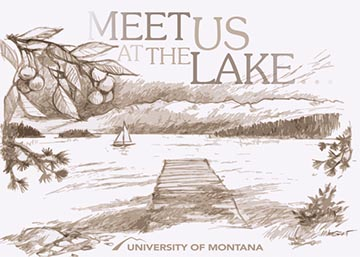 Illustration of jette on Flathead Lake with text reading 'MEET US ON THE LAKE'