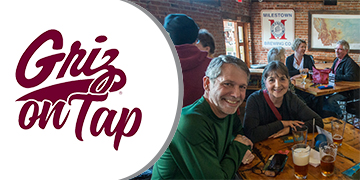 Griz on Tap logo and people socializing at a brewery