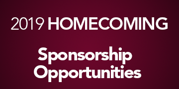 Text reads: 2019 Homecoming Sponsorship Opportunities