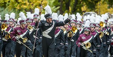 UM marching band at Homecoming parade