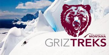 Griz Treks Logo with text reading: UM Alumni Adventure Travel
