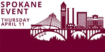 Illustration of Spokane skyline. Text reads: Spokane Event, Thursday April 11