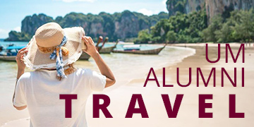 Picture of woman on beach. Text reads: UM Alumni Travel